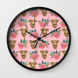 Airedale dog floral print airedale dog purple florals airedale dog fabric airedale pillow Wall Clock