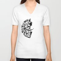 letters V-neck T-shirts featuring Arabic letters by elyinspira