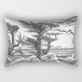 MONTEREY CYPRESS AND POINT LOBOS PEN DRAWING IN CROSSHATCH Rectangular Pillow
