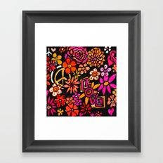 Peace Love and Flower Power Framed Art Print