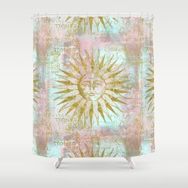 Golden Sun elegant vintage pattern Shower Curtain