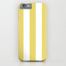 Hansa yellow -  solid color - white vertical lines pattern iPhone Case