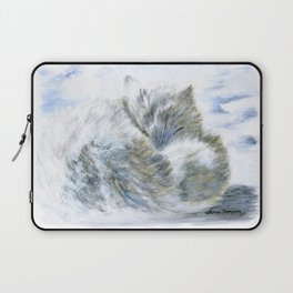 Snowy Slumber - Arctic Fox by Teresa Thompson Laptop Sleeve