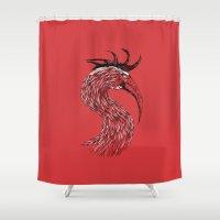 fierce Shower Curtains featuring Fierce Raptor by Michal Malacek