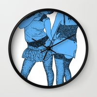 girls Wall Clocks featuring Girls by Skinny Gaviar