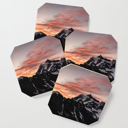 Pink Sky - Cascade Mountains - Nature Photography Coaster