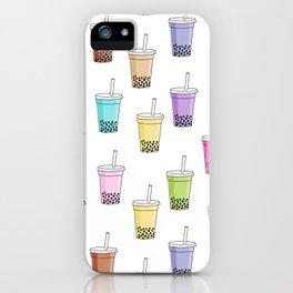 Bubble tea pattern - cute food pattern, cute food, food design, colorful iPhone Case