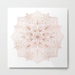 Mandala Rose Gold Flower Metal Print