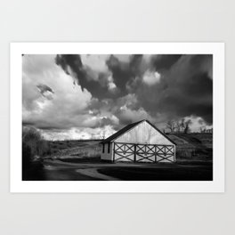 Aging Barn in the Morning Sun in Black and White Rural Landscape Photograph Art Print