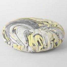 Reiko - gold grey black and white minimal marble abstract ink japanese modern monoprint art  Floor Pillow
