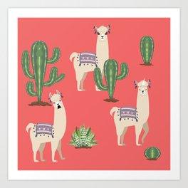 Llama with Cacti Art Print