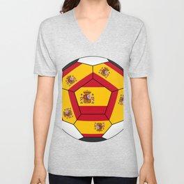 Soccer ball with Spanish flag Unisex V-Neck