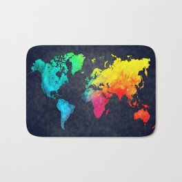 World map watercolor 6 Bath Mat