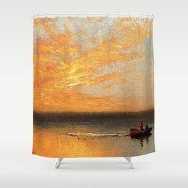 Coastal Golden Sunset, summer marine nautical landscape by Charles Henry Gifford Shower Curtain
