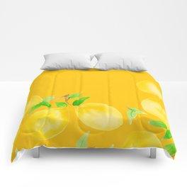 Lemons on Mustard Yellow Comforters