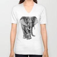 elephant V-neck T-shirts featuring Ornate Elephant v.2 by BIOWORKZ