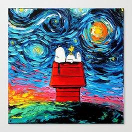 snoopy peanuts starry night Canvas Print