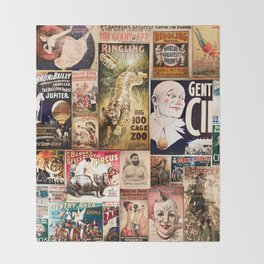 Circus Collage Throw Blanket