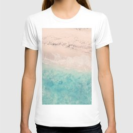 Aerial sea photography, exotic beach, fine art, wanderlust, coral reef, tropical landscape, summer T-shirt