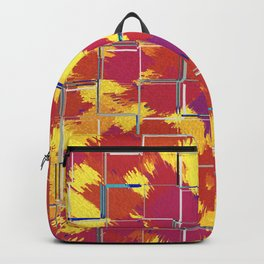 Squares Red & Yellow Abstract Backpack