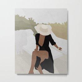 Woman in the hat mid century art Metal Print