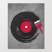 record Canvas Prints featuring Art of Music by dan elijah g. fajardo