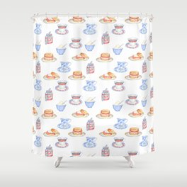 British Cream Tea Pattern Shower Curtain