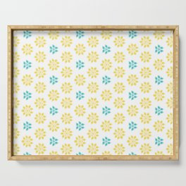 Spring Yellow Blue Flower Pattern Serving Tray
