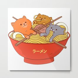 Ramen and cats Metal Print