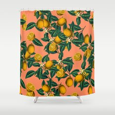 Lemon and Leaf Shower Curtain