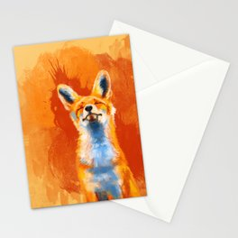 Happy Fox on an orange background Stationery Cards