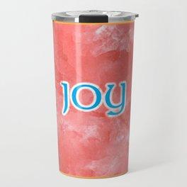 Joy On A Blue Orange Pattern Travel Mug