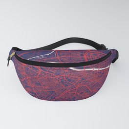 Zaragoza, Spain, Blue, White, City, Map Fanny Pack