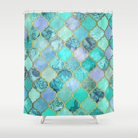 moroccan Shower Curtains featuring Cool Jade & Icy Mint Decorative Moroccan Tile Pattern by micklyn