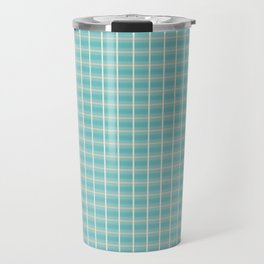Aqua Yellow Minimalist Checkered Pattern Travel Mug