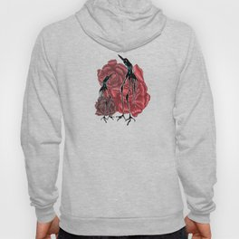 Weird Long Leg Birds With Stylized Roses Hoody