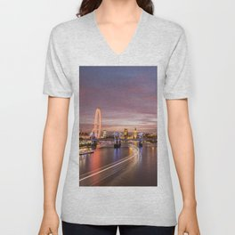 On the Thames - London Unisex V-Neck