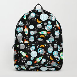 Arctic Astronauts Animals In Space Gray Black Backpack