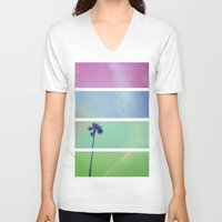 palm tree V-neck T-shirts featuring Palm Tree by Whitney Retter