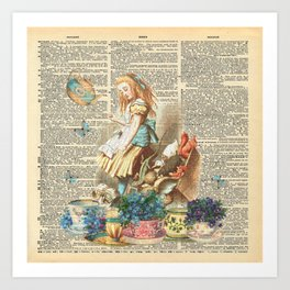 Vintage Alice In Wonderland on a Dictionary Page Art Print