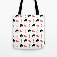 amelie Tote Bags featuring Amelie by Qc Illustrations