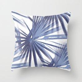 Pale Blue Violet Tropical Beach Palm Fan Vector Throw Pillow