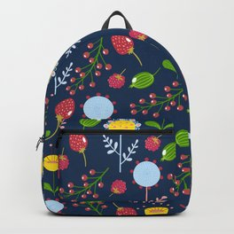 Floral pattern with bright colorful flowers, plants and berries. Backpack