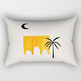 Minimalist Minimal Mid Century Abstract Middle Eastern Ancient Ruins Palm Tree Rectangular Pillow