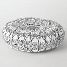 black and white mandala Floor Pillow