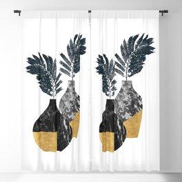 Gold + Marble Floral Vase Blackout Curtain