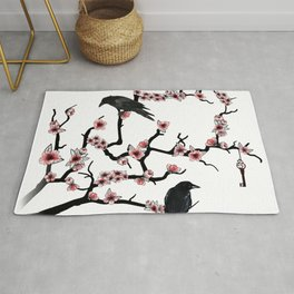 Ravens on cherry tree Rug