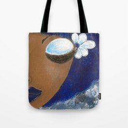 Sassy Girl Royal Blue and White Tote Bag