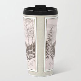 NORTHEAST SNOWFALL VINTAGE PEN AND PENCIL DRAWING Travel Mug