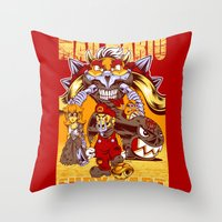 mario kart Throw Pillows featuring Mad Mario: Fury Kart by RynoArts